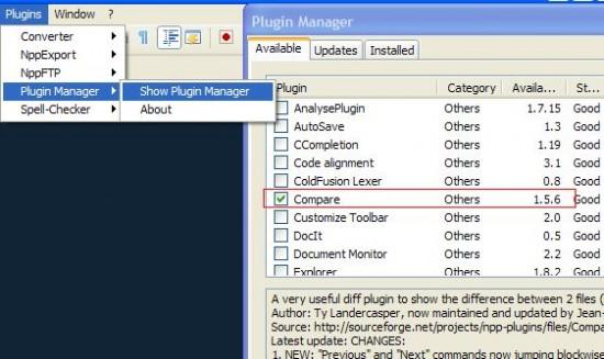 notepad++ plugin compare