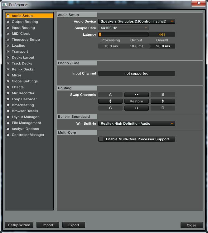 traktor Hercules DJ CONTROL INSTINCT audio setup