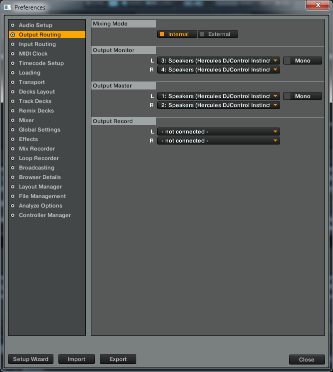 traktor Hercules DJ CONTROL INSTINCT output routing