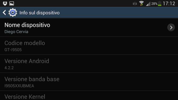 trovare versione Android installata su Samsung S4