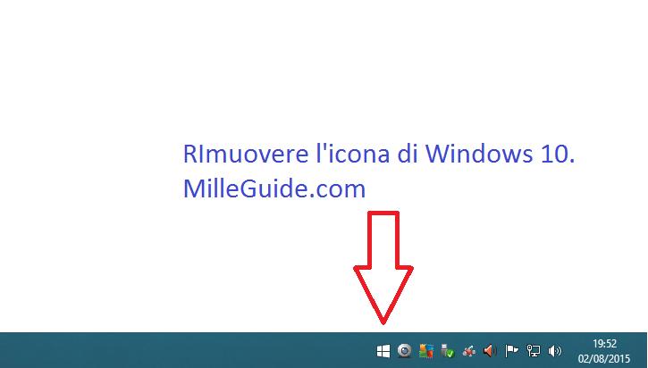 Eliminare icona di aggiornamento Windows 10