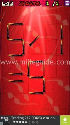Soluzioni Rompicapi con i fiammiferi Livello 13