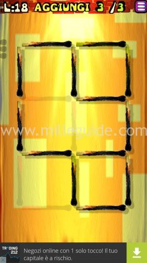 Soluzioni Rompicapi con i fiammiferi Livello 18