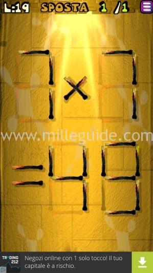 Soluzioni Rompicapi con i fiammiferi Livello 19