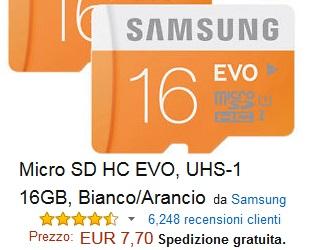 Samsung MB-MP32D/EU Scheda Micro SD HC EVO, UHS-1, Classe 10, 32 GB, Bianco/Arancio
