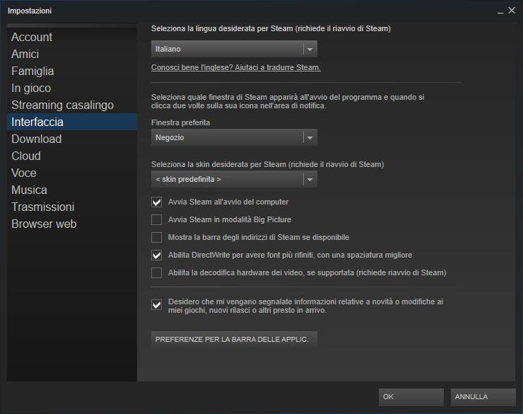Disabilitare avvio automatico di Steam