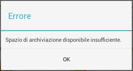 spazio di archiviazione insufficiente android