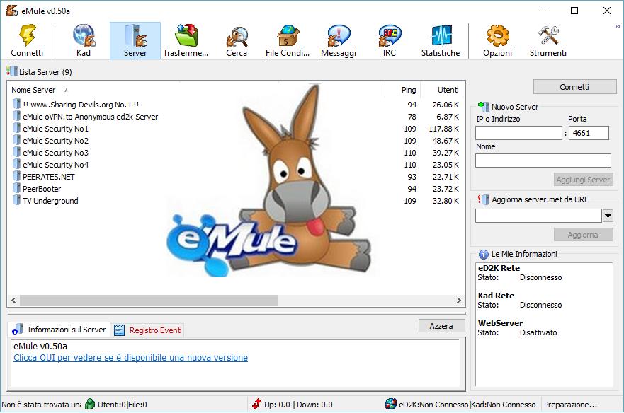 Dove scaricare la nuovissima versione eMule 0.50a?