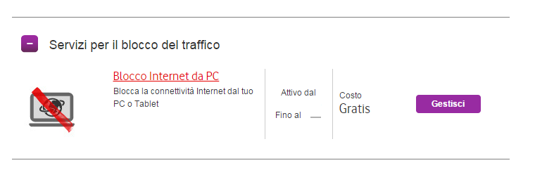 Vodafone blocco Internet da PC.