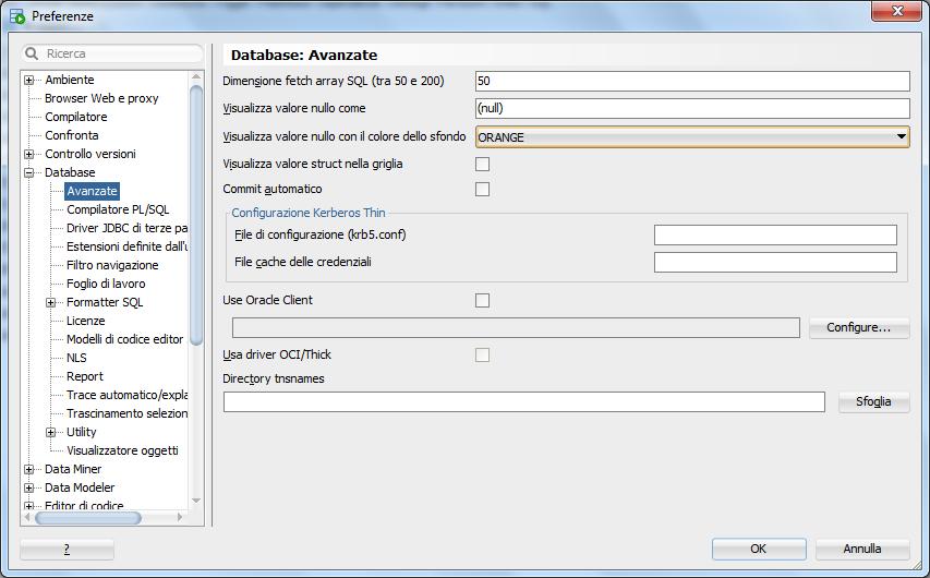 Come evidenziare le colonne NULL su SQL Developer