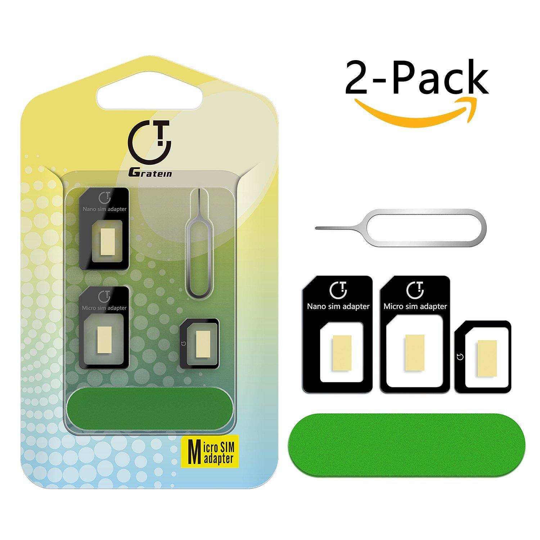 Adattatore Sim Card, Gratein 2 Pezzi Adattatore Kit Convertitore 5 in 1 per Carte SIM Nano Micro Standard con Sander Bar e Vassoio Aperta Ago Nero