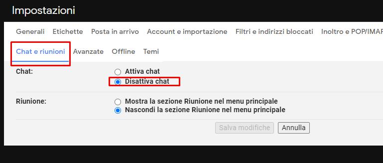 nascondere la chat presente nella sidebar di Gmail
